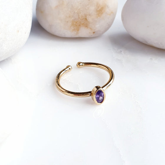 Stackable Small  Oval Amethyst Ring
