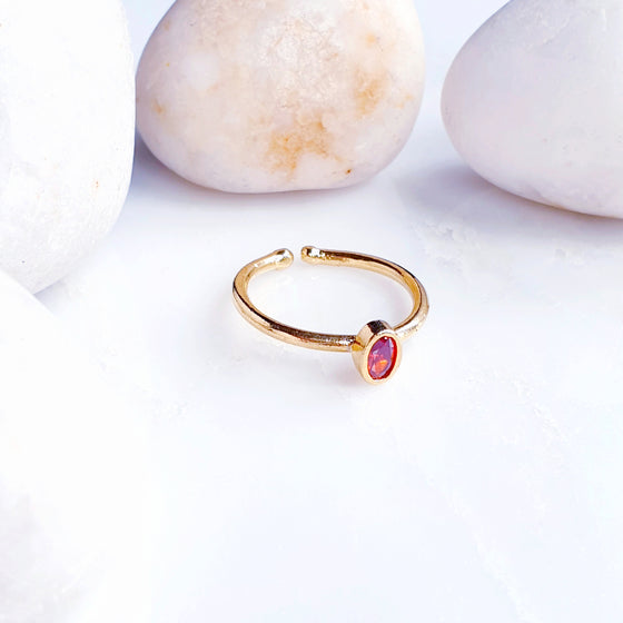 Stackable Small  Red Oval Ring