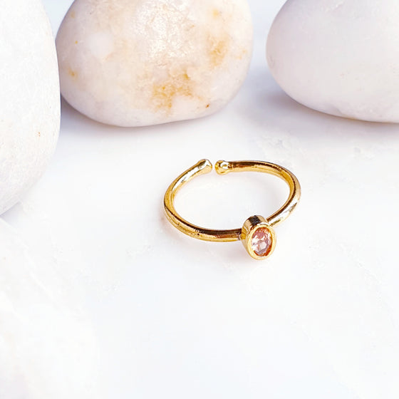 Stackable Small  Peach Oval Ring