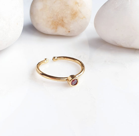 Stackable Small  Red Round Ring