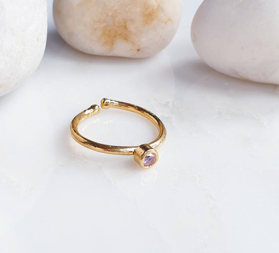 Stackable Small  Pink Round Ring