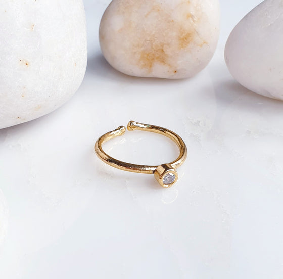 Stackable Small  Round White Crystal Ring