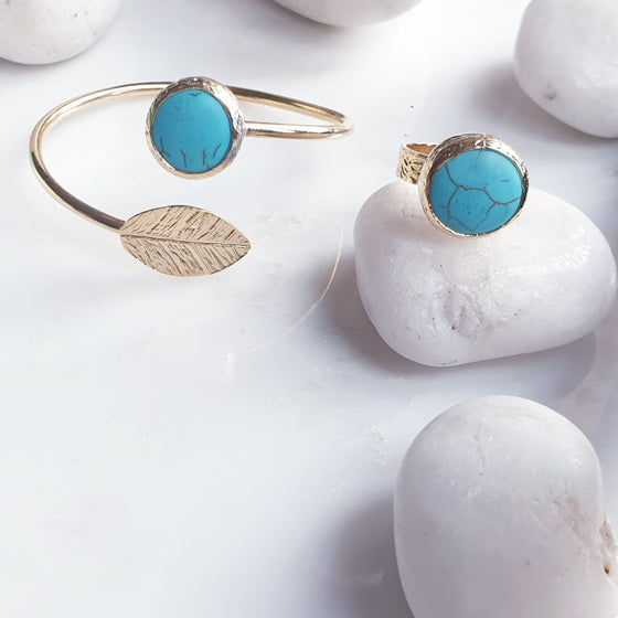 Turquoise Leaf Bangle and Ring Set