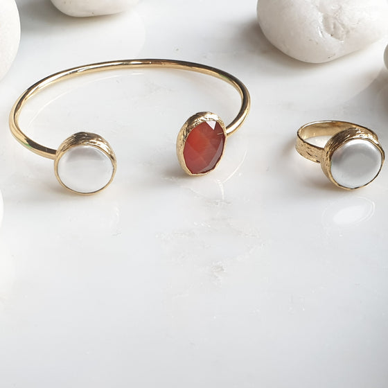Burnt Orange Oval  Cat's eye and Pearl Bangle and Ring Set