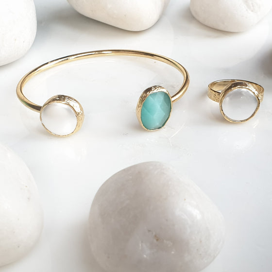 Aqua Oval  Cat's eye and Pearl Bangle and Ring Set
