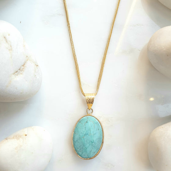 Oval Faceted Turquoise Pendant