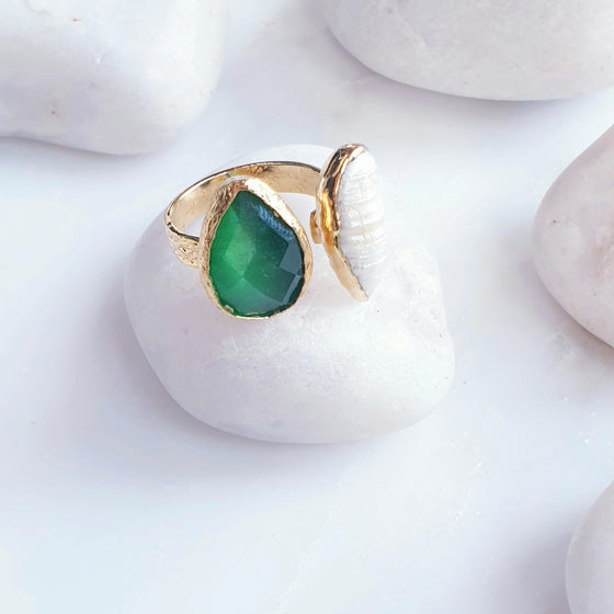 Green Teardrop Cat's eye  and Fresh Water Pearl ring