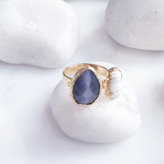 Grey Teardrop Cat's eye  and Fresh Water Pearl ring