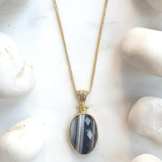 Oval Black and White Pendant