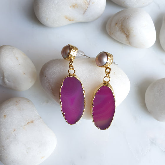 Oval Pink Agate and Pearl Earrings