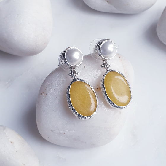 Yellow Jade  and Pearl Silver Earrings
