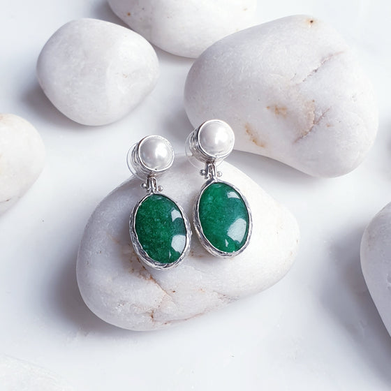 Green Jade  and Pearl Silver Earrings