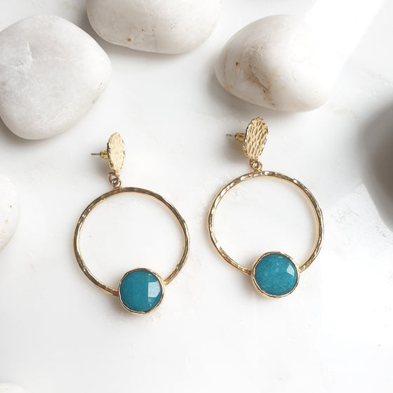 Teal Jade Hoop  Earrings
