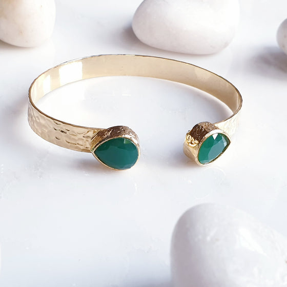 Teardrop Emerald Bangle