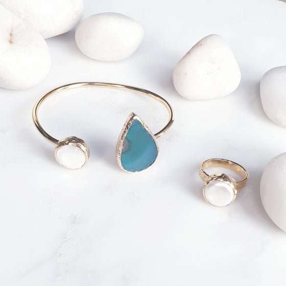 Teardrop Agate  Pearl  bangle and Ring set