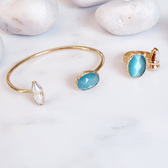 Blue Cat's Eye and Pearl ring and bangle set