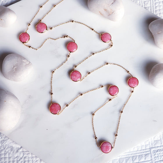 Pink Jade chain necklace