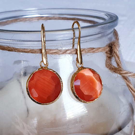 Burnt Orange Round Cat's Eye Earrings