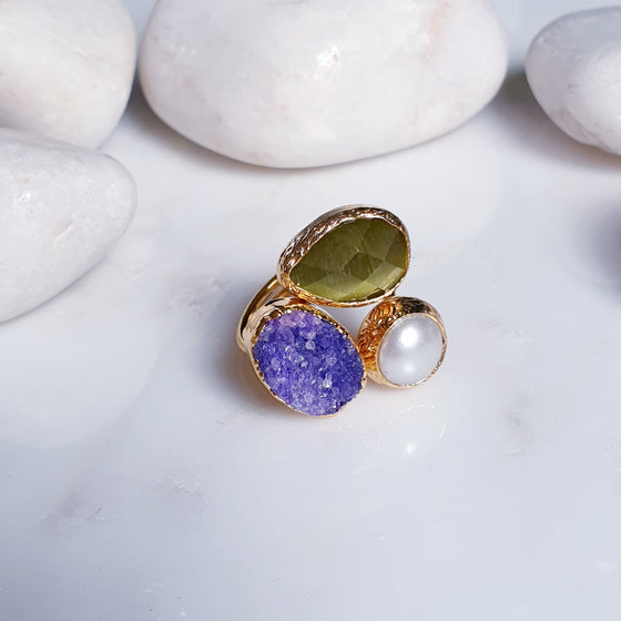 Cat's Eye and Druzy Ring