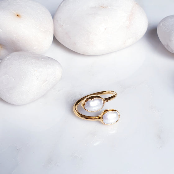 2 Stone  Pearl Ring