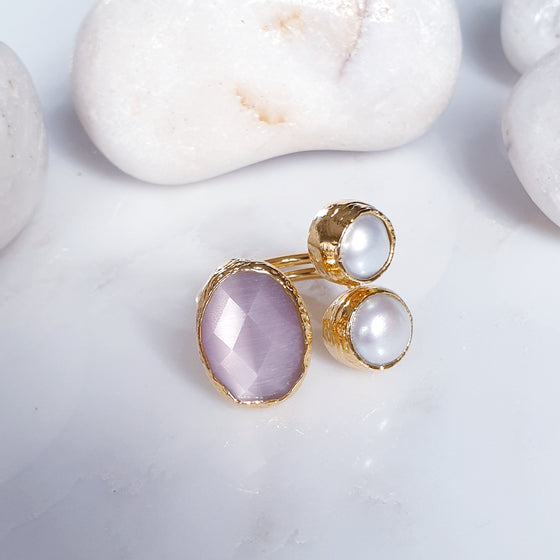 Oval Pink Cat's eye and  Pearl Ring