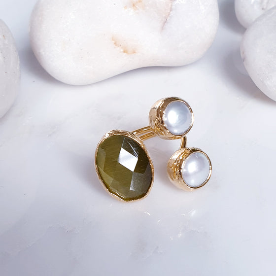 Oval Olive Cat's eye and  Pearl Ring
