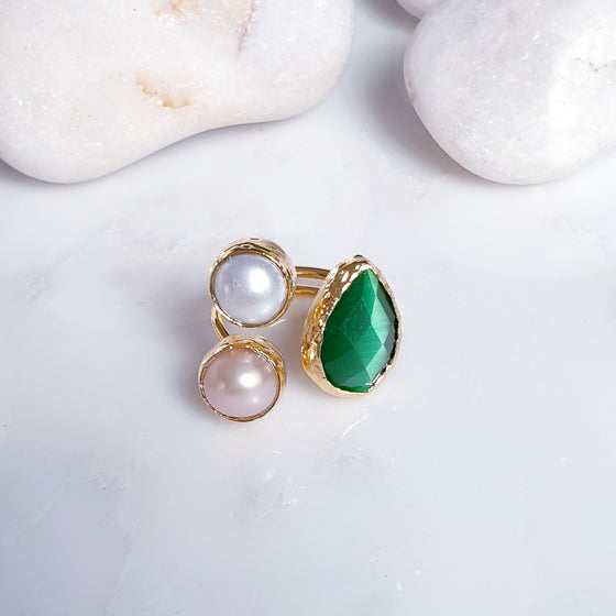 Teardrop Green Cat's eye and  Pearl Ring