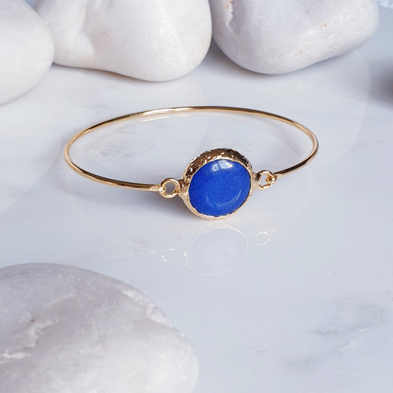 Round Blue Jade bangle
