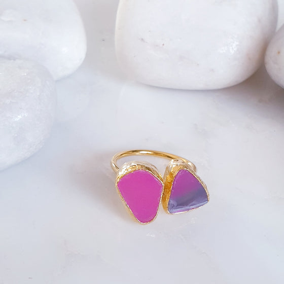 Pink Agate 2 stone Ring