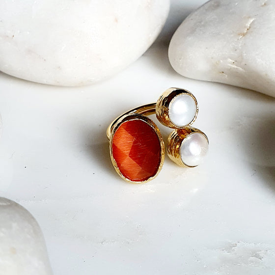 Oval Orange Cat's eye and Pearl Ring