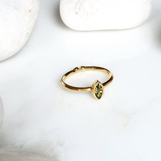 Stackable Small  olive green Oval Ring