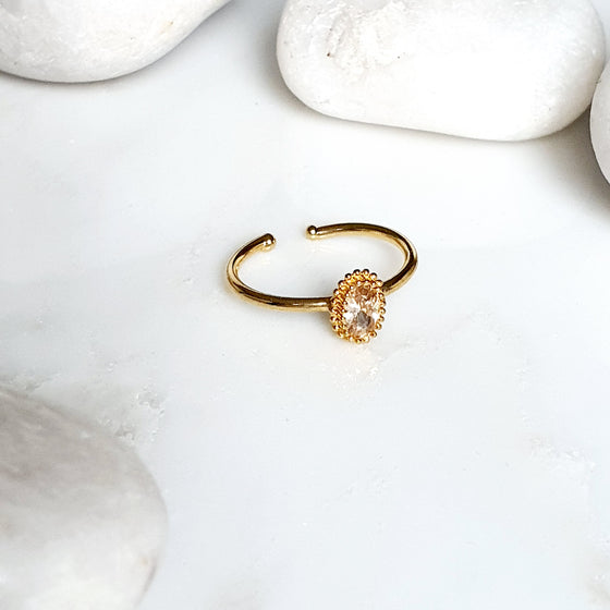 Stackable Small  Oval peach Ring