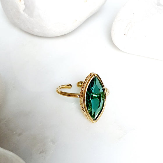 Stackable Pointy Oval blue-green Ring