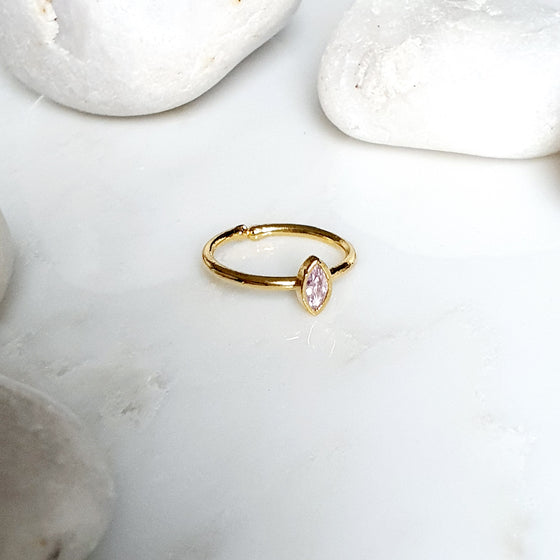 Stackable white Small  Teardrop Ring