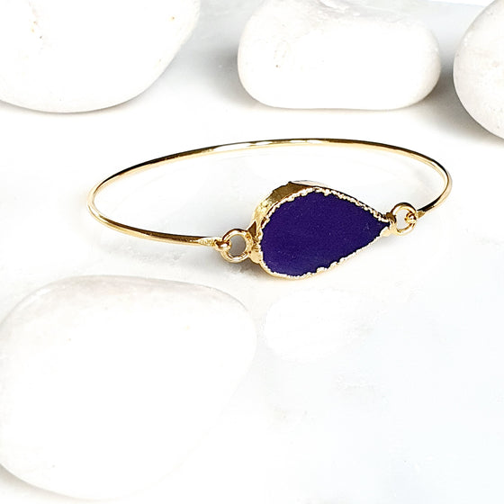 Purple Agate one stone bangle