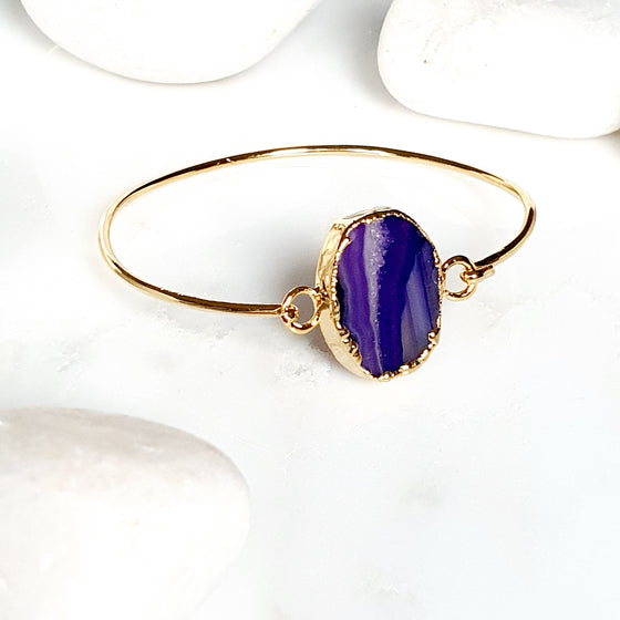 Oval Purple Agate one stone bangle