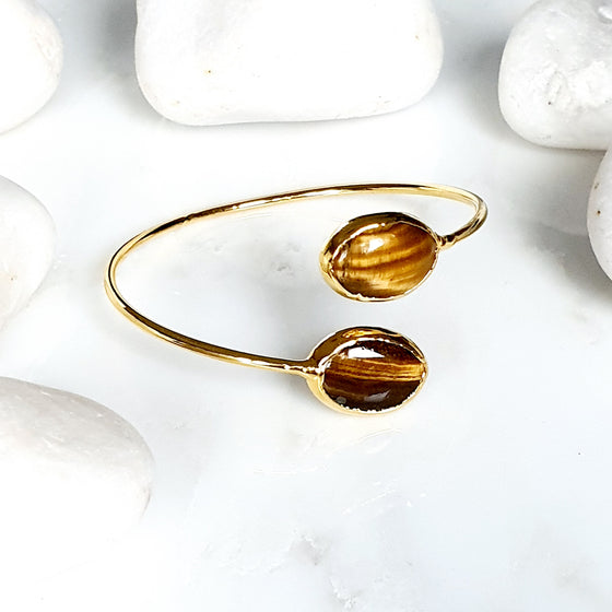 2 stone Tiger's Eye  Bangle