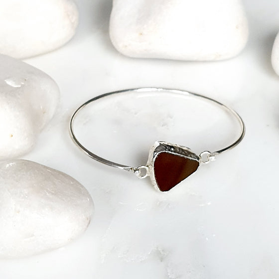 Brown Agate Silver Bangle