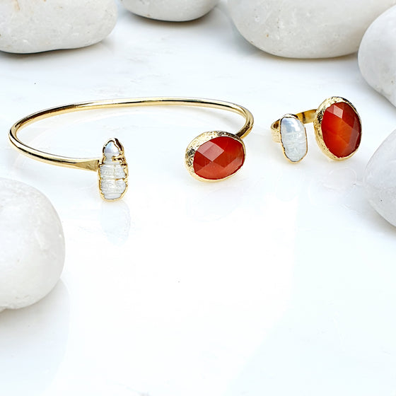 Oval Burnt Orange Cat's Eye and Pearl ring and bangle set