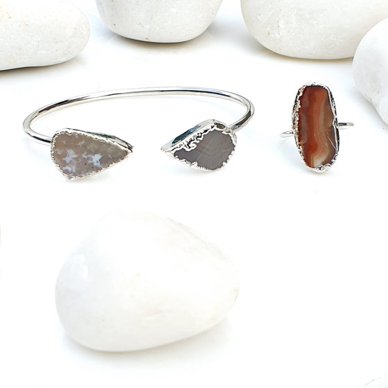 Silver Brown Agate  Bangle and Ring set