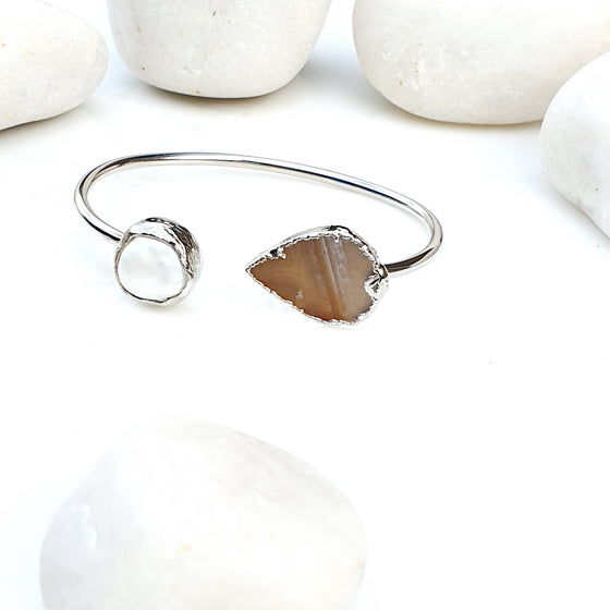 Silver Brown Agate and Pearl Bangle