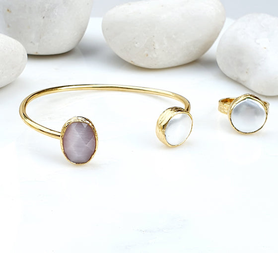 Pink Oval Cat's eye and Pearl Bangle and Ring Set