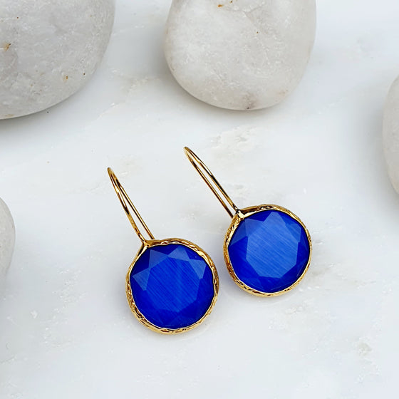 Blue Round Cat's Eye Earrings