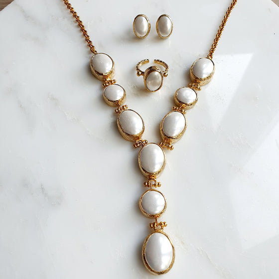 Pearl Necklace, Ring and Earrings