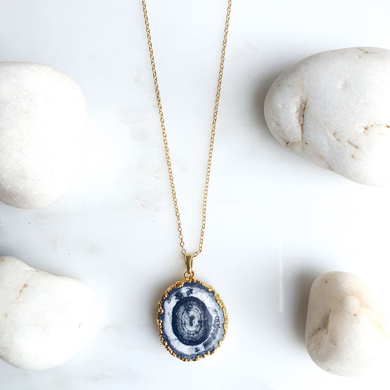 Grey Solar Quartz Necklace