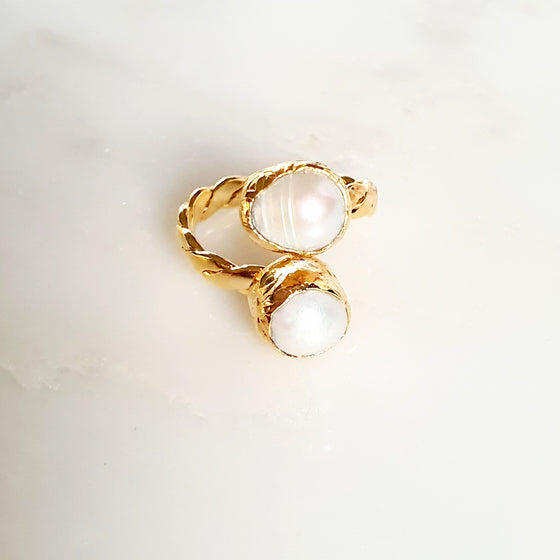 Roped Two Stone Pearl Ring