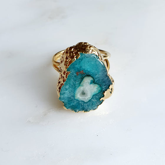 Green Solar Quartz Ring