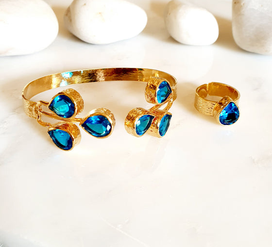 Teardrop Blue Crystal bangle and ring set
