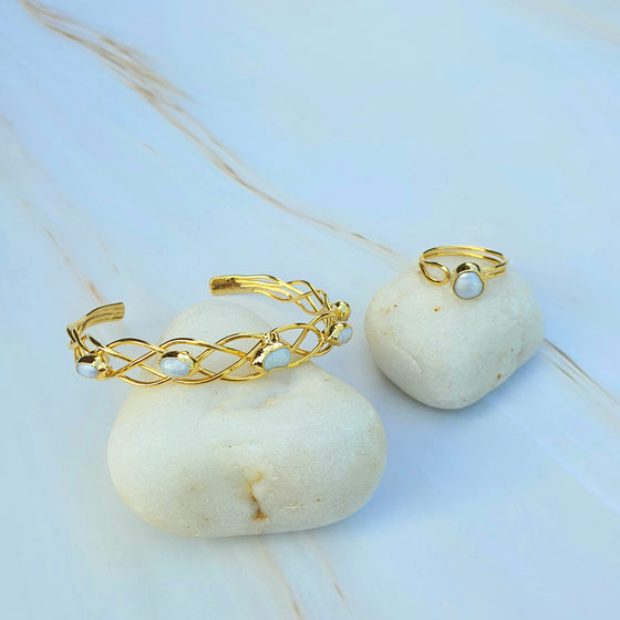 Pearl Woven Bangle and Ring Set