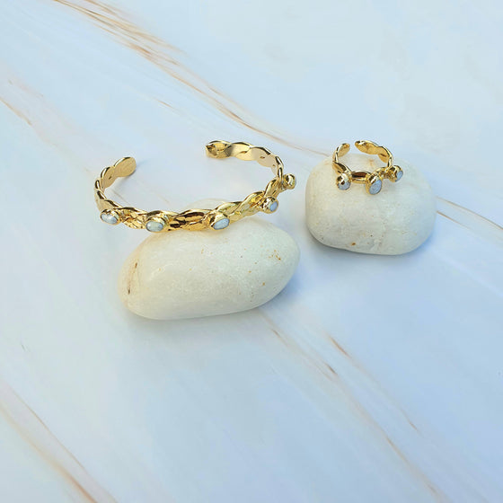 Pearl twist Bangle and Ring Set